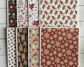 Set of 8 Christmas themed notecards - Christmas notecards - blank Christmas cards - holiday notecards or invitations -