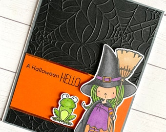 Cute witch and toad handmade Halloween greeting card -  Halloween witch card - Halloween greeting card - A Halloween hello - embossed card