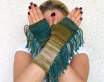 Knit Fingerless Gloves, colorful bohemian style , tribal style, fringed, Long knit gloves, Boho knit glove mittens,