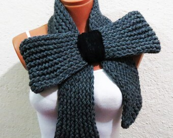 Knitted Bow Scarf Chunky Knitted Bow Ascot Neck Warmer Women's Scarf Fashion Accessories in Gray, SCARVES, 2014 Trend, Winter Scarfs