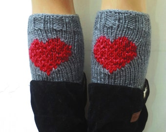 Red Gray Short Heart Knit Boot Cuffs. Love Heart Short Leg Warmers. Crochet heart Boot Cuffs Legwear gray red, Womens Boot Cuff, Teen Gift