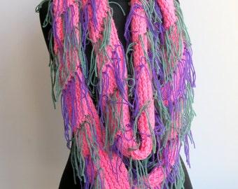 CHRISTMAS DISCOUNT Fringed long scarf - Big Cowl Scarf - Soft  Big Neck warmer Women/Tassels/