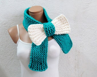 Knitted Bow Scarf Chunky Knitted Bow Ascot Neck Warmer Women's Scarf Fashion Accessories in Neon Mint Cream, SCARVES, 2018 Trend