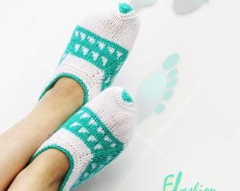 Knitting Slippers, Slippers Socks, Aqua Slippers, Handmade Slippers, Slippers, House Slippers, Winter Slippers, Wool Blend Slippers, SOCKS