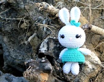 Small Rabbit Knitted Toy / Easter Gift Kid's Toy / nursery decoration / Rabbit Amigurumi / crochet Amigurumi Soft Toy