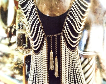 Fabulous Vintage 1980s runway pearl vest heavy deeigner statement  piece