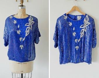 6d26f4d76d458 Vintage Blue Heavy Beaded Sequin Silk Top  Exclusive by Jainsons Intl  Vintage  Navy Blue Sequin Top  Floral Sequin Blue Blouse