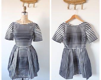 Vintage Optical Illusion Black and White Striped Dress/  Shirt Dresss/ Bateau Neckline/ Short Sleeve /Pleated Skirt/ Knee Length/
