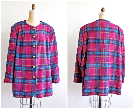 Vintage 80's Plus Size Plaid Tweed Magenta Blazer