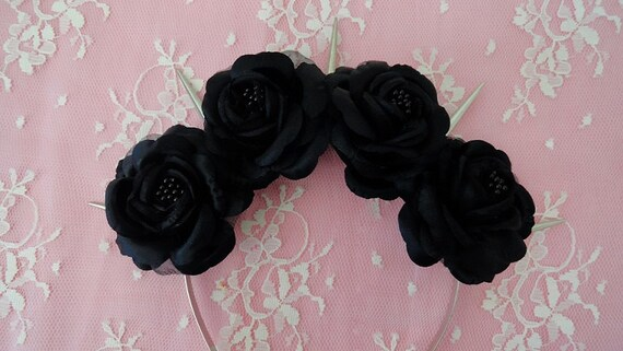 Black Dahlia Pastel Goth Silk Black Roses And Silver Spikes Flower Crown Lana Del Rey by Etsy