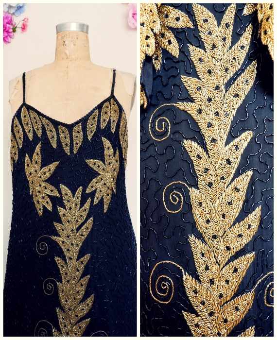 Black & Gold Beaded dress/ Beaded Black Dress/ Gat