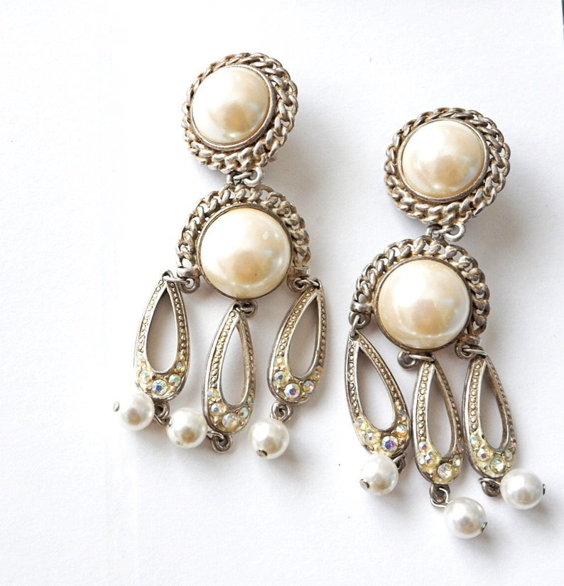 Vintage 50s Clip-On Dangle Pearl Silver Earrings Pinup Glam Pearl ...