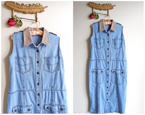 90s Denim Button Down Jean Dress/ Plus Size Vintage FORE WARNED Size 16/  Long Denim Dress with Pockets