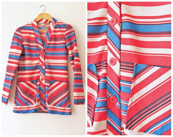 Vintage MOD 60s Shawl Collar Blue and Red Striped