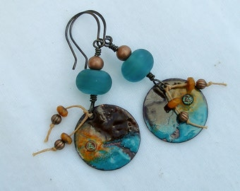 Earthy-- Rustic Copper Turquoise Enamel Charm Earrings   641