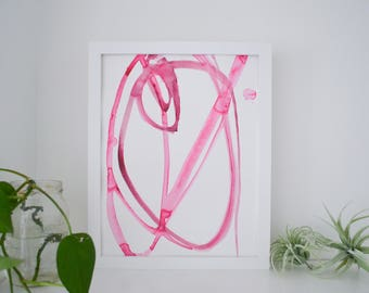 Abstract Watercolor Art Original Pink Plant Cell 3