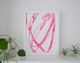 Abstract Watercolor Art Original Pink Plant Cell 5