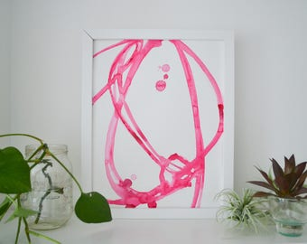 Abstract Watercolor Art Original Pink Plant Cell 7