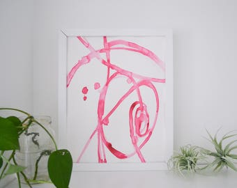 Abstract Watercolor Original Art Pink Plant Cell 4