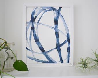 Abstract Watercolor Art Original Indigo Plant Cell 2