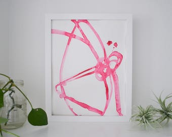 Abstract Watercolor Art Original Pink Plant Cell 6