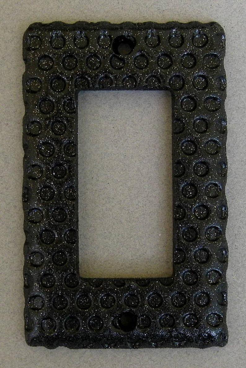 Black Glitter Impressed Dots Single Rocker Switchplate Lightplate