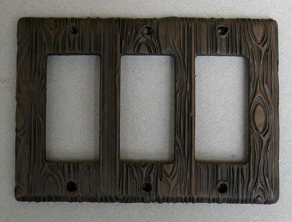 Wood Grain Faux Texture Design Triple Rocker Switchplate Etsy