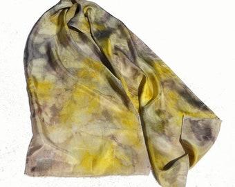 Naturally Dyed Eco Print Silk Scarf, Botanical Print Habotai Scarf, Ready to ship