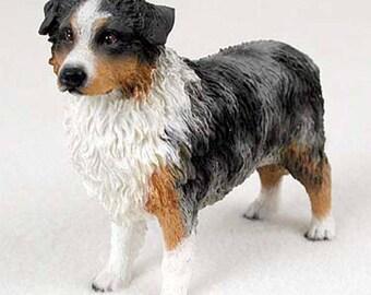 Custom Painted Australian Shepherd Dog Figurine INCLUDES FREE GIFT Swarovski Hand Beaded Paw Charm Bracelet