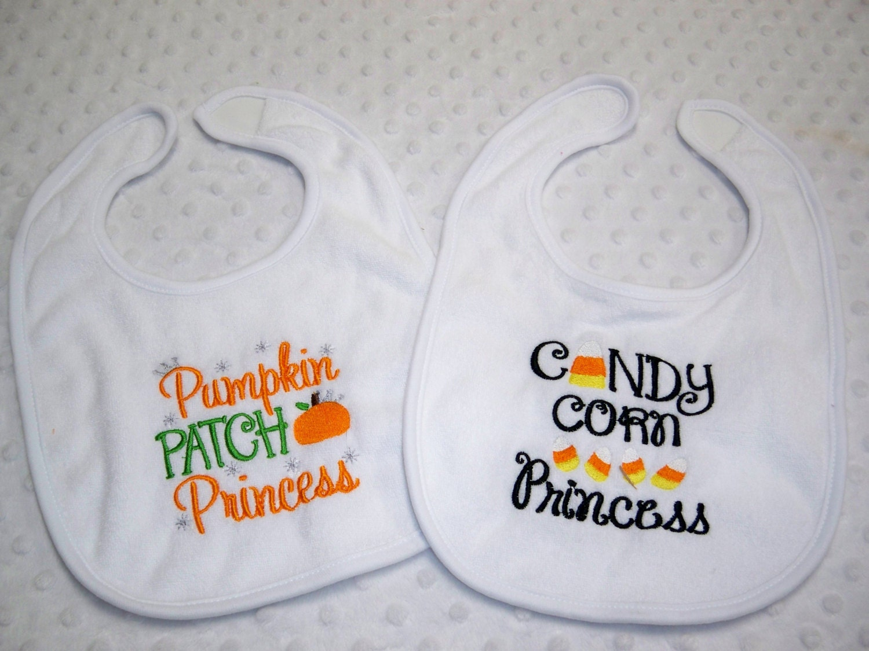 Set of 2 Halloween Trick or Treat /& Pumpkin Baby Bibs