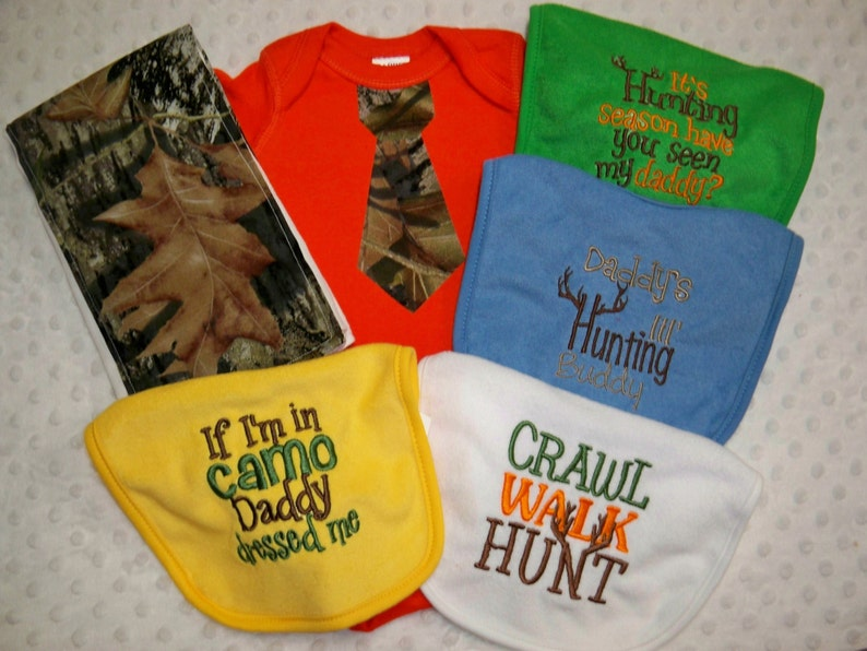 6 Piece Camo Baby Boy Gift Set Orange Bodysuit with Camo Tie Camo Burp Cluth and set of 4 Hunting Bibs Orange and Camo Bodysuit Camo Baby
