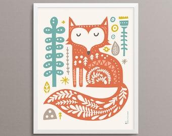 "FOX Folk Art Print - 8x10"" - Limited Edition"