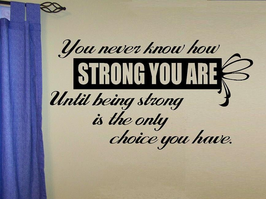 Vinyl Wall Decal Quote You Never Know How Strong You Are Until Etsy