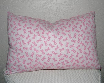 Breast Cancer Awareness Pink Ribbon Pillow Cover, Pink Ribbon Pillow Case