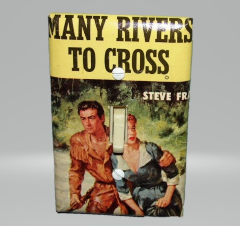 Upcycled 1960s Paperback Light Switch Cover  Western Many Rivers to Cross Historical