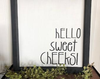 Hello Sweet Cheeks Bathroom Sign, Modern Farmhouse Bathroom Decor, 3D Sign