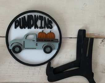 Fall Pumpkin Truck Sign Tiered Tray Decor
