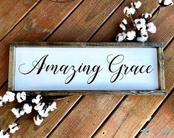 Amazing Grace, Hymn Sign, Inspirational Sign, Wooden Sign, Farmhouse Style, Framed Wooden Sign, Christian Decor