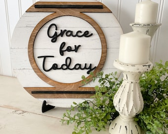 Grace for Today Round Farmhouse Sign with Faux Shiplap