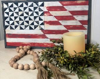American Flag Barn Quilt Sign, Americana Home Decor