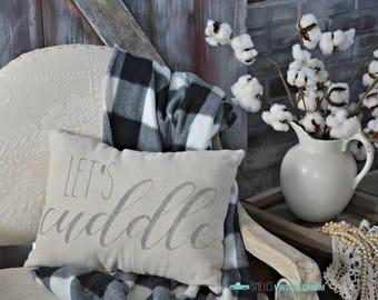Let's Cuddle, Throw Pillow, Farmhouse Decor, Decorative Pillow, Accent Pillow, Canvas Pillow