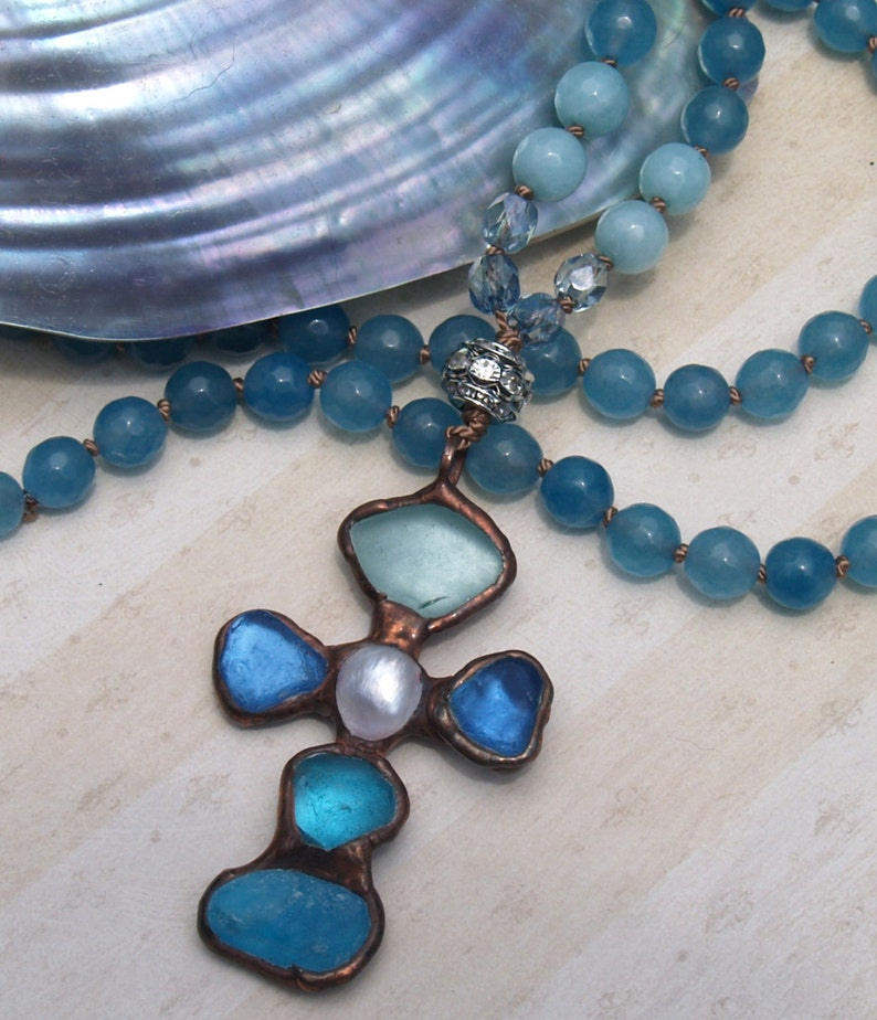 SALE 32 Bohemian Knotted Necklace with Faceted Gemstone beads Soldered Cross Pendant Beach Glass BOHO Beach Glam Necklace