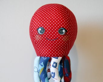 Marley the Octopus Softie, Stuffed Animal, Plush Toy. Polkadot, and Pirate Theme Print. By the Blind Stitch