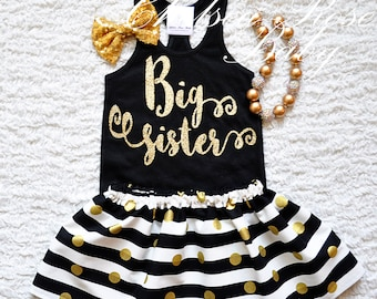 Gold Big Sister shirt, Personalized Birthday shirt, Big Sister outfit, Baby First Birthday Shirt, gold dot ruffle pants, Pink Gold
