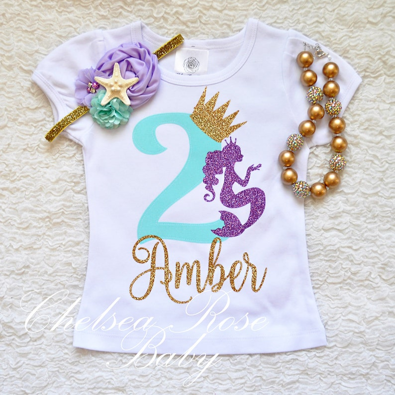 Mermaid Lavender Aqua Gold Birthday Shirt Baby First 1st Outfit