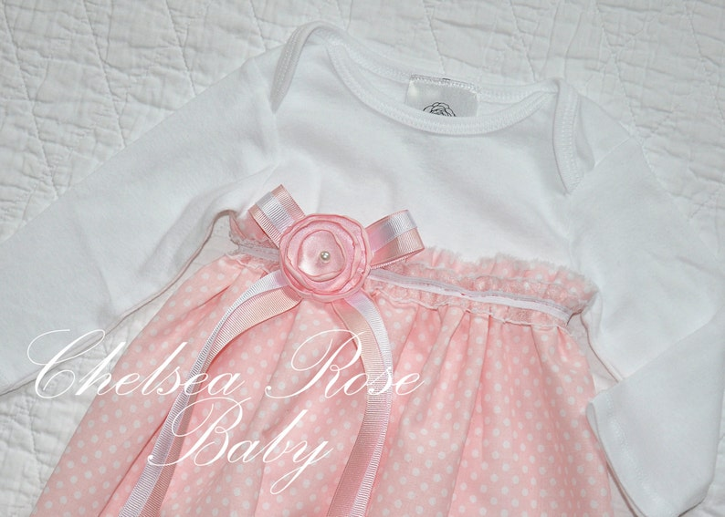 Baby Girl Newborn Gown light pink polka dot baby dress blessing dress baby girl take home outfit Layette christening gown dress