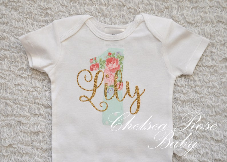 Floral And Gold Birthday Shirt Personalized