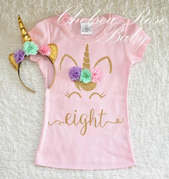 Pink And Gold Unicorn Birthday Shirt Personalized