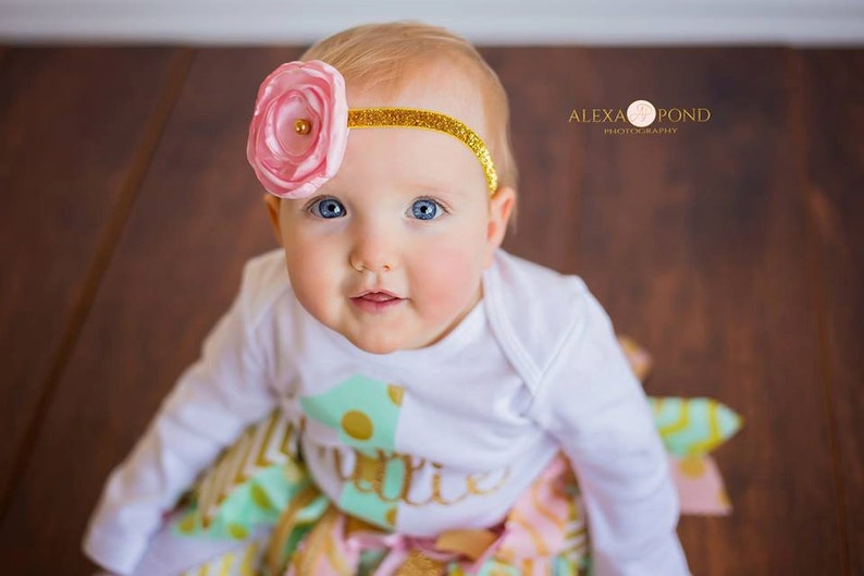 Pink Mint and Gold Fabric tutu outfit~ First Birthday tutu set~ 2nd Birthday Outfit~ Pink Mint Gold Birthday~ Birthday~ baby girl