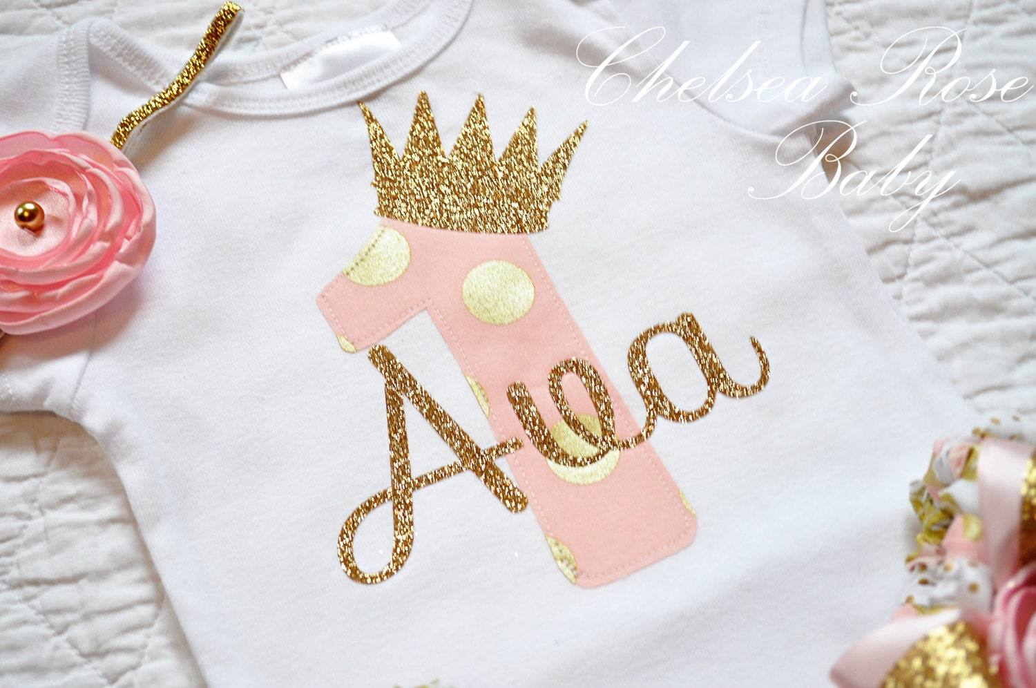 Pink And Gold Birthday Shirt Personalized Outfit Baby First 1st Mint